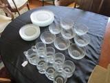 Glass Lot - Lattice/Twist Design Glass 8 Cups, 8 Bowls, 6 Bread Plates, 7 Plates