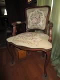 Mahogany Vintage Chair Georgian Man/Woman Upholstered Scene, Shield Back