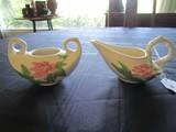 Pair - Hull Pottery Vintage Creamer/Sugar w/ Pink Leaf Motif