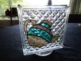 Glass Diamond Square Cut Décor w/ Slag Glass Teapot Motif