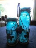 2 Blue Glass Candle Jars in Metal Oak Leaf Carrier, Sealed Top
