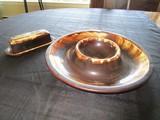 Platzgraff Brown Glazed Butter Dish, Chip-Dip Dish