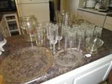 Glass Lot - Misc. Coca Cola Pitcher w/ Half Pint Glasses, 2 Misc. Pitchers, Crystal Glasses, Etc.