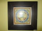De Tanrot' Floral Print Picture in Grooved Dark Wood Frame/Matt