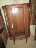 Wooden Half-Moon Display Cabinet 3 Glass Windows, 1 Door, Curved Front Feet