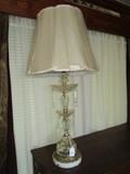 Clear/Diamond Cut Body Lamp w/ Bobeche/Prisms, Marble/Brass Base w/ Grape/Leaf Motif