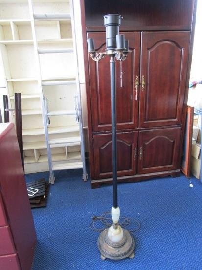 3 Armed Standing Torchiere Lamp, Black Column, Colored/Reed Glass Base