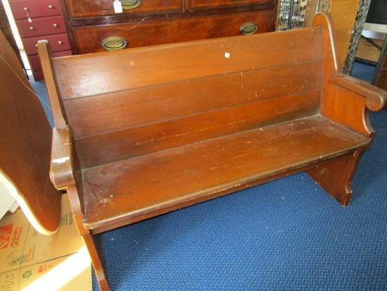 Wooden Bench Curled Arms/Back, Slat Back