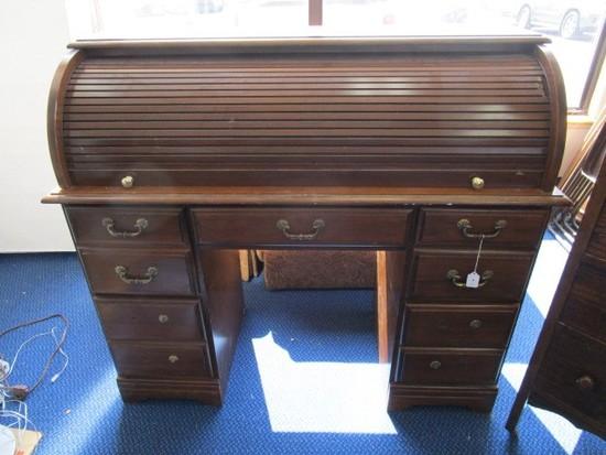 Dark Wooden Broyhill Secretary Roll Front 5 Drawer w/ 2 Inlay Shelves, Brass Pulls/Knobs
