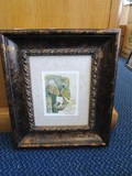 Elephant Print Picture Artist Signed Phyllis Knight in Ornate Gilted Antique Patina