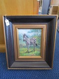 Hand Painted Zebra Picture by B. Frank in Black/Gilted Antique Patina Wood Frame/Matt