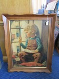 Child at Window Print Picture Artist Signed James Chapin in Arched Wood Frame/Matt