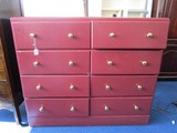 May-Bilt May Wood Furniture Co. 8 Drawer Dresser Red Painted Brass Pulls