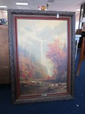 Multinoma Falls Print A. Bierstadt Wooden Oak Leaf Carved Frame/Matt