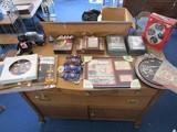 Shelf Lot - Contents of Shelf Misc. Dale Earnhardt Plaques, Toys, Clock, Baubles