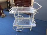 Metal White Vintage Cart w/ 2 Tier Glass Shelves, Bamboo Motif
