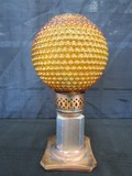 Amber Bead Shade, Brass/Metal Base Vintage Oil Lamp
