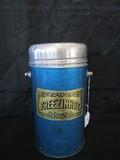 Freezinhot Gold Coin Hong Kong Vintage Blue Serving Flask