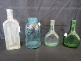 Lot - Blue Bell Mason Jar, Vintage Dr. Miles Medical Co. Apothecary Bottle