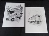2 Ink Print Pictures Vintage Truck/Train Scenes, Truck 11/50, Train 3125