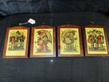 4 Vintage Hummel Wood Block Wall Mounted Plaque Décor