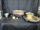Silverplate Lot - Meat Tree/Platter, Tongs, Spoon, Casserole Dish, Etc.