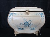 Metal Small Décor Chest Blue Floral Pattern Rope Trim w/ Handles