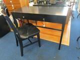 Wooden Black Work Desk w/ Slat Back Chair, 1 Drawer Metal Diamond Pulls