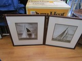 Pair - Sepia Racing/Sail Boats Pictures Prints in Wood Frame/Matt