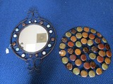 Metal Round, Curled Top/Base Wall Mounted Mirror w/ Colored Faux-Brass Motif