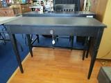 Wooden Black 1 Drawer Desk Tapered Legs, Metal Pull