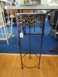 Metal Antique Patina Vase Stand Curled Trim Round