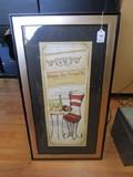 French Café Seat/Table Scene Print in Wooden Frame/Matt