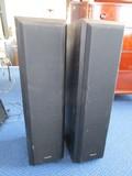 Pair - Technics Black Wood Floor Speakers