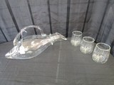Long Wide Body Pitcher w/ Handle & 3 Glass Cups