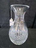 Crystal Glass Vase Wide Body, Narrow Neck, Wide Top, Diamond Cut/Scalloped Cut Rim