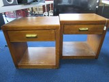 Pair - Wooden Side Tables w/ Drawers, Brass Pull, 2-Tier