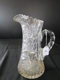 Tall Clear Glass Pitchers Pinwheel/Prescut Design, Saw Tooth Rim, Star-Cut Base