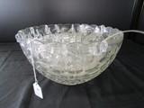 Large Punch Bowl Peanut Glass Design Scallop Trim w/ 11 Matching Cups, 1 Plastic Ladle