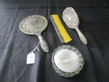 Lot - Silverplate Brush, Hand Mirror, Comb Ornate Rose/Embellished Motif w/ Glass Power Dish