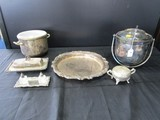 Silverplate Lot - 2 Ice Buckets, Ornate Trim Platter/Plate, Butter Dish