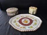 Tin Vintage Motif Colorful Floral/Animal Round Tin, Floral Pattern Platter