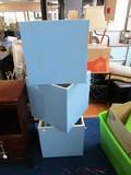 3 Wooden Blue/White Boxes