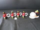 Hallmark Ceramic Snowball/Penguin Salt/Pepper Shaker w/ Base & 4 Penguin Napkin Holders