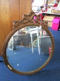 Wall Mounted Round Mirror in Gilted Wooden Frame Ornate Curled/Acanthus Pediment Top