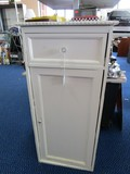 White Wooden Side Table 1 Drawer, 1 Hutch Door Rose Trim