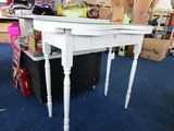 White Wooden Desk, 2 Folding Wings, Glass Top, Bow Front, Block/Spindle Legs