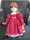 Marie Osmond © 2003 #02817/15,000 Doll Porcelain Head/Hands/Feet Red Dress Rose Belt