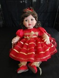 Marie Osmond © 2007 #0386/2500 Doll Porcelain Head/Hands/Feet Red Gilted Band Dress