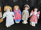4 Dolls w/ Stands Porcelain Head/Hands/Feet Misc. Dresses, Blue/Red Floral Print